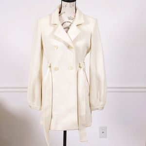 Bebe winter ivory wool coat, size M